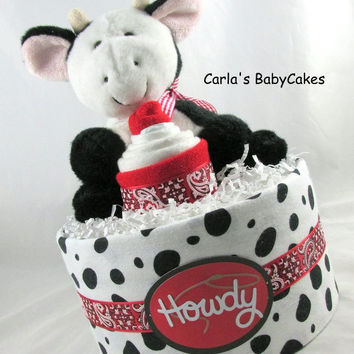 Cowboy diaper cake | Neutral diaper cake | Baby diaper cake | Baby sprinkle gift | Baby shower gift | New mom gift | Unique baby gift