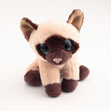 Ty Beanie Boos Big Eyes Stuffed & Plush Animals 10 - 15cm Siamese Cat Toys Dolls