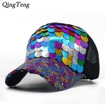 Trendy Winter Jacket Summer Breathable Mesh Women Cap Colorful Fish-Scale Sequins Baseball Cap Casual Snapback Hat For Girl Hip Hop Female Truck Cap AT_92_12