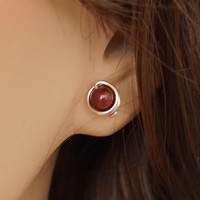 Rose Gold Filled Swarovski Bordeaux Pearl Stud Earrings, Wire Wrapped Jewelry Handmade, Rosegold Earring, Pink Gold Studs
