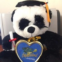 Graduation Panda with Cap, Diploma & Solid Brass Picture Frame - 10 Inches