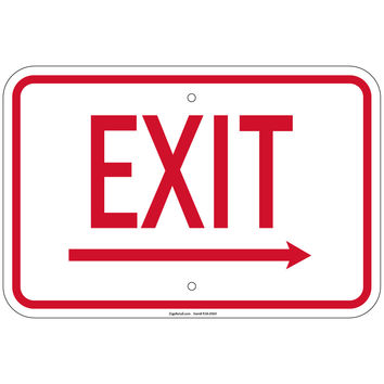 """Heavy Gauge Enter-Exit Signs -Exit with right arrow Sign 12"""" x 18"""" Aluminum Retail Store"""