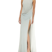 Donna Karan Bi-Color Draped-Front Evening Gown