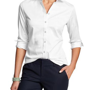 Banana Republic Womens Factory Non Iron Fitted Sateen Shirt