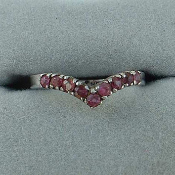 Sterling Silver Chevron Ring Pink Fuchsia Rhinestones Size 7 Jewelry