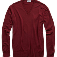 John Smedley V-Neck Sweater in Gardner Red