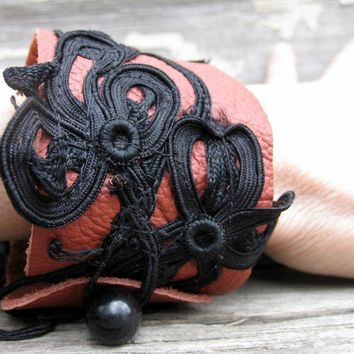 Terra Cotta Leather Cuff Bracelet with Black by stacyleigh on Etsy