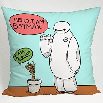 Hello Baymax Big Hero 6 and Groot Guardians of Galaxy Pillow Case (16x16 one side)