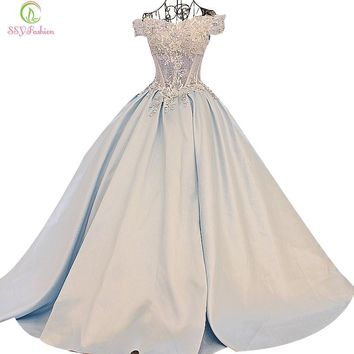 High-grade Light Blue Luxury Satin Lace Flower Long Evening Dress The Princess Married Banquet Party Prom Dresses