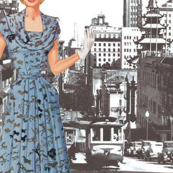 San Francisco Walking Dress I 12x18 Giclee on canvas