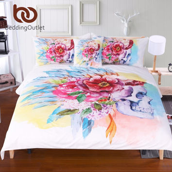 Colorful Skull and Floral Duvet Cover Set 4 Pieces Super Soft Microfiber Sugar Skull Wearing Flowers Bedding Set