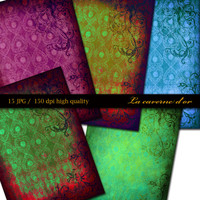 15 files A4 digital printing for scrapbooking, Digital Collage, card, art paper, gift wrapping, decoration, vintage, gothic