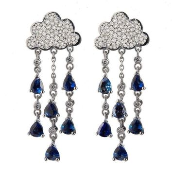 Sapphire Diamond Gold Chandelier Earrings Set