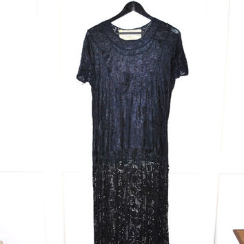 1920s 20s silk crochet lace long flapper dress / navy blue great gatsby dress