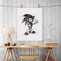 Sonic Art Paper Watercolor Painting Sonic The Hedgehog Nursery Wall Hanging Game Wall Decor Poster Art Print Gift AP069