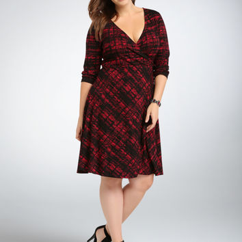 Abstract Plaid Wrap Dress