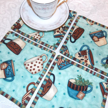 Coffee Tea Quilted Coasters Mug Rug Set of Four