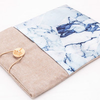 "Macbook Air Sleeve 11 Inch, Macbook 12 Inch Case, iPad Pro 12.9"" Case, Macbook 12 Sleeve, iPad Pro Sleeve, Laptop Sleeve Marble Camel, H13"