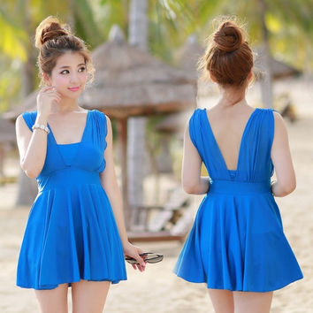 Women One Piece High Waisted Swimsuit Swimdress Swim Dress Bathing Suit = 1958187204
