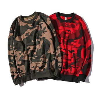 autumn and winter camouflage men s clothing plus fat plus code loose round neck dress on the head long sleeved clothing trend jacket sweater men