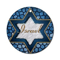 Star of David Israel Hanukkah Ornament Round Round Ornament by CafePress
