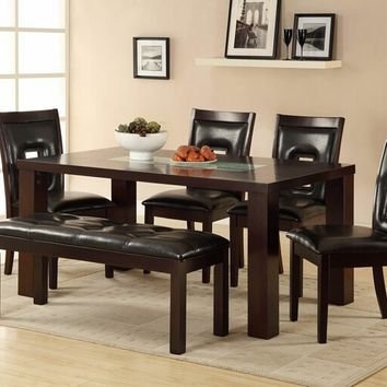 Home Elegance 2528-64 6 pc lee espresso finish wood and glass insert dining table set