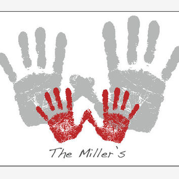 Family Handprint Art PERSONALIZED parent baby footprint print Fathers Day Gift