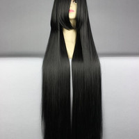 40 inches Harajuku Anime Black Cosplay Wig Young Long Straight
