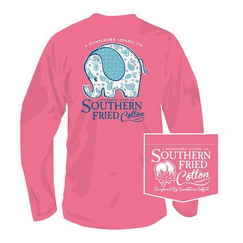 Ellie Long Sleeve Tee in Pink Jam by Southern Fried Cotton