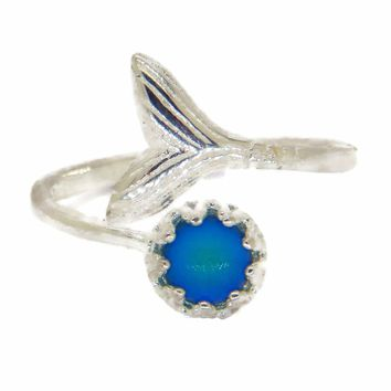 Mermaid Fish Tail Sterling Silver Mood Ring