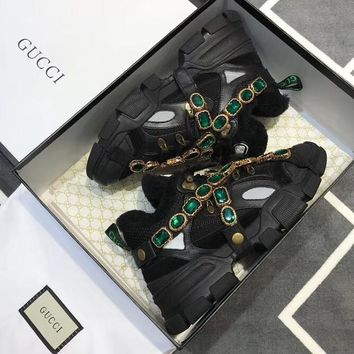 GUCCI Flashtrek wool sneaker with crystals Brown black white-1