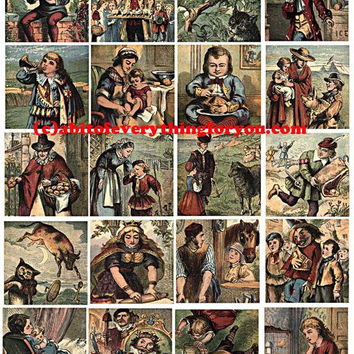 vintage mother goose nursery rhymes clip art digital download collage sheet 2 inch squares graphics images printables for pendants pins