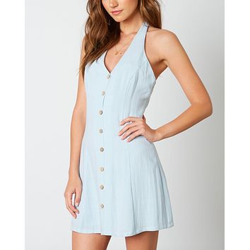 Final Sale - Cotton Candy - Fairgrounds Halter Linen Mini Dress - Chambray