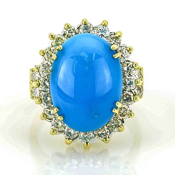 GIA Certified Turquoise and Diamond Ring in 18k Yellow Gold