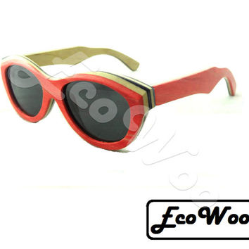 Red Skateboard Style Oval Sunglasses, Polarized, 400 UV, Beach Fashion, Retro Style
