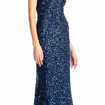 Adrianna Papell - AP1E202438 Crossed String Back Sequined Halter Gown