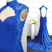 Royal Blue Jersey Evening Dresses, Lace Straps Mermaid Evening Gown with Open Back, Royal Blue Formal Dresses, Mermaid Jersey Long Prom Gown