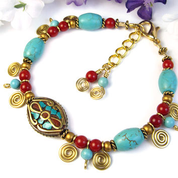 Tibetan Bead Bracelet Turquoise Coral Brass Inlay, Adjustable Handmade | PrettyGonzo - Jewelry on ArtFire