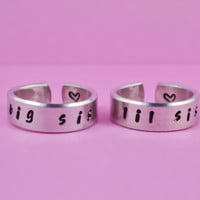 big sis / lil sis  -  Hand stamped Ring Set, Handwritten Font, Shiny Aluminum, Forever Love, Friendship, BFF