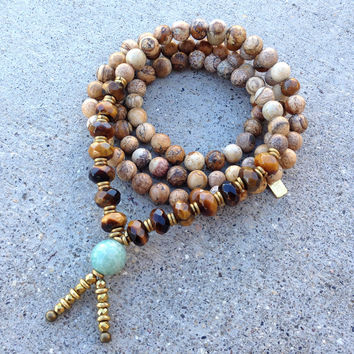 Jasper and Tiger's Eye 'Protection and Prosperity' 108 Bead Wrap Mala Bracelet