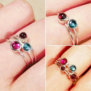 Sterling Silver Natural Garnet Stacking Ring, Natural London Blue Topaz Stacking Ring, Blue Ring, Dainty Red Bemstone Ring, Birthstone Ring