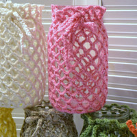 Crochet Candle Holder Luminaire Lantern Mason Jar Cover  Flower Vase White Pink Aqua Green Littlestsister