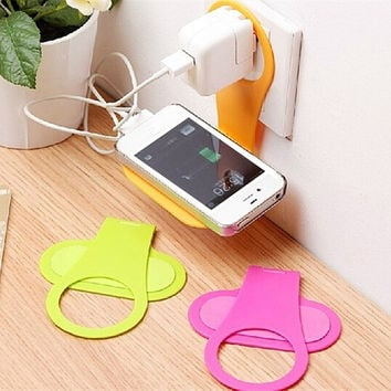 Convenient Mobile Foldable Designed Cell Phone Holder Wall Charger Hanger Charging Rack Shelf Send in random color = 1753644100