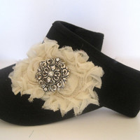 Black Golf Sun Visor with Ivory Chiffon Flowers and a Silver and Rhinestone Brooch Accent Golf hats Visors Accessories