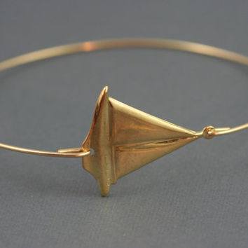 Gold sailboat modern thin bangle bracelet Nautical simplychic93