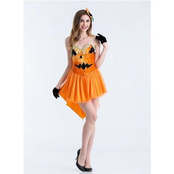 Cute Elven Mage Cosplay For Woman Halloween Elven Mage Pumpkin Costumes Cosplay Different Size And Orange Jumpsuit For Choose