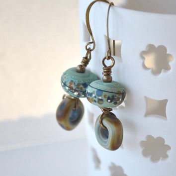 Earthy Earrings, Bohemian Earrings, Lampwork Jewelry, Glass Bead Earrings, Rustic Earings