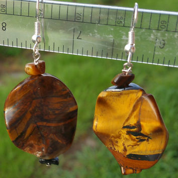 "Large round natural chatoyant Tiger eye beaded dangle earrings with sterling silver hooks 2"" drop"