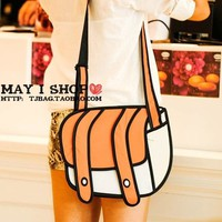Cute 2D Women Cartoon Canvas Messenger Bag - Orange