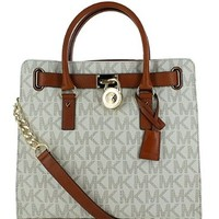 Michael Kors Hamilton Signature Large North South Tote - Vanilla